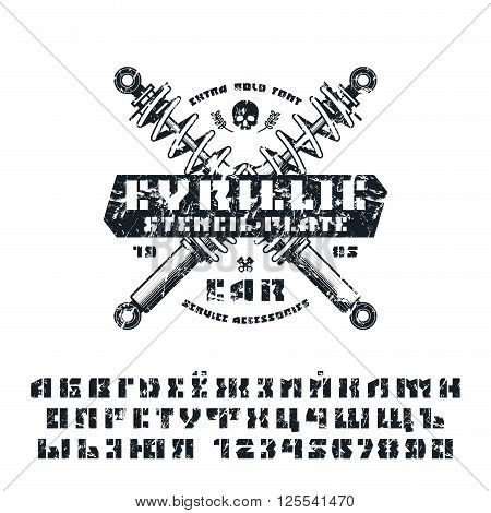Stencil-plate cyrillic font and numeral with shabby texture. Isolated on white background