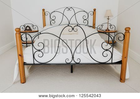 Elegant Wooden And Metal Bed
