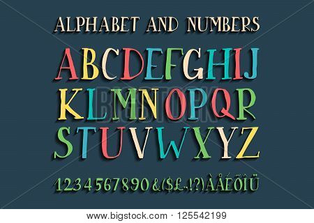 Retro alphabet vector font. Type letters numbers and punctuation marks. Scratched background.