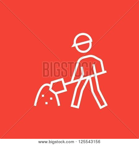 Man with shovel and hill of sand line icon.