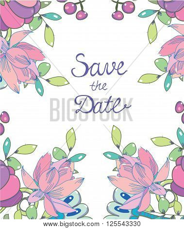 colorful floral background floral print and the words save the date on white background, stock vector wedding card