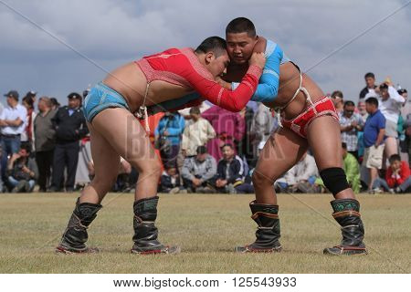 Kharkhorin, Mongolia, July, 8 - Mongolian Wrestling During Naadam Midsummer Festival, On July 8, 201
