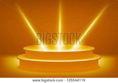 Illuminated Stage Podium For Award Ceremony Vector Illustration. Golden Podium In The Form Of Hexago