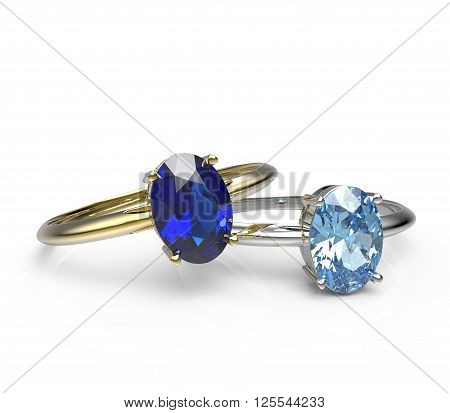 Diamond Rings. Isolated on a white background.  Fashion jewelry. 3d digitally rendered illustration