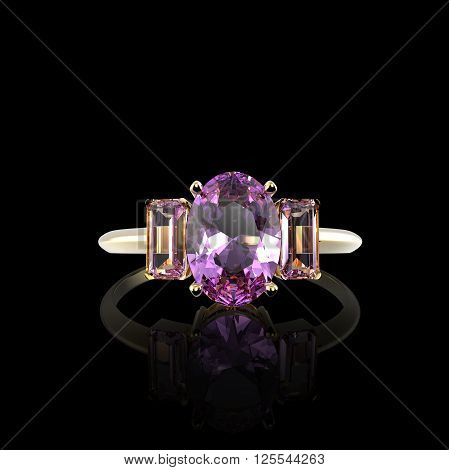 Wedding ring with diamond isolated on on black background.  Fashion jewelry. 3d digitally rendered illustration
