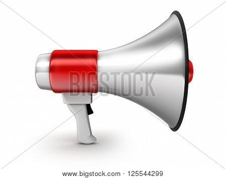 Red symbol megaphone on white background (done in 3d)