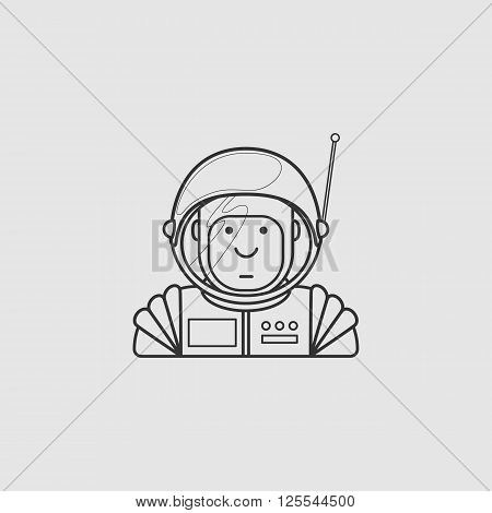 contour icon cute astronaut in a suit and helmet