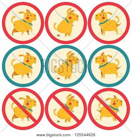 sign prohibiting, permissive dog walking. cartoon vector illustration of cute dog dumped poop.