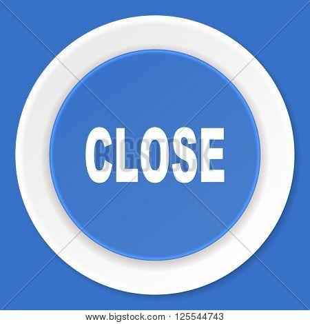 close blue flat design modern web icon