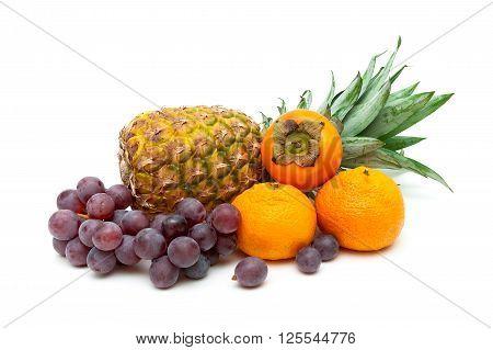 tropical fruits isolated on white background close up. horizontal photo.