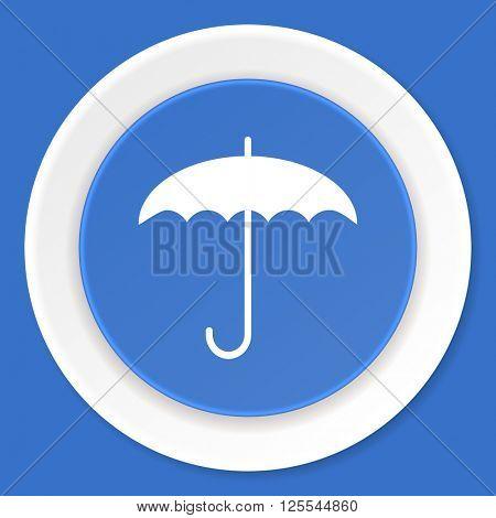 umbrella blue flat design modern web icon