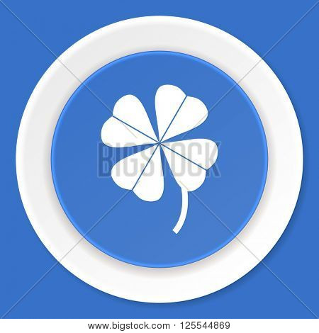 four-leaf clover blue flat design modern web icon