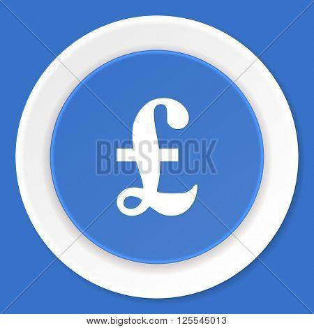 pound blue flat design modern web icon