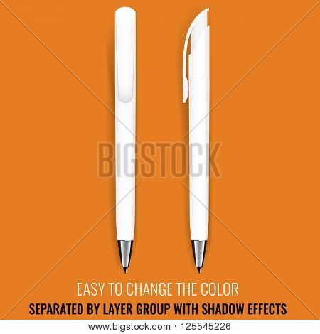 Pen Vector. Realistic Pen Pencil Marker. Corporate Identity And Branding Stationery. Promotion gift. Illustration Isolated. Layerd grouped. Mock Up Template. Design Element. Easy to change color.