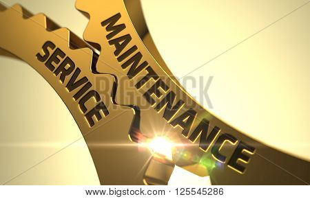 Maintenance Service - Illustration with Glowing Light Effect. Golden Gears with Maintenance Service Concept. Maintenance Service - Concept. Maintenance Service Golden Cog Gears. 3D Render.