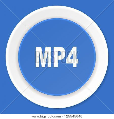 mp4 blue flat design modern web icon
