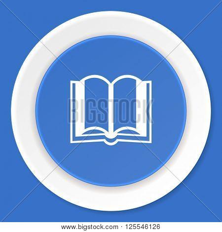 book blue flat design modern web icon