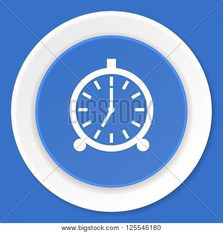 alarm blue flat design modern web icon