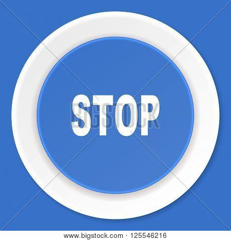stop blue flat design modern web icon