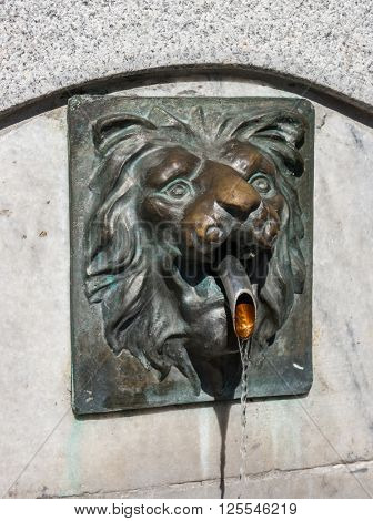 Lion head sculpture with water flow
