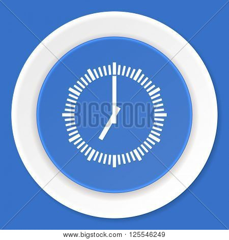 time blue flat design modern web icon
