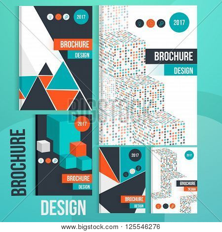 Set of Vector brochure cover templates with geometric shapes. Business brochure cover design, flyer brochure cover, professional corporate brochure  cover