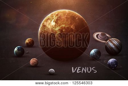 Venus - High resolution images presents planets of the solar system on chalkboard. This image elements furnished by NASA