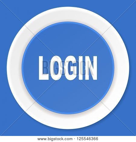 login blue flat design modern web icon