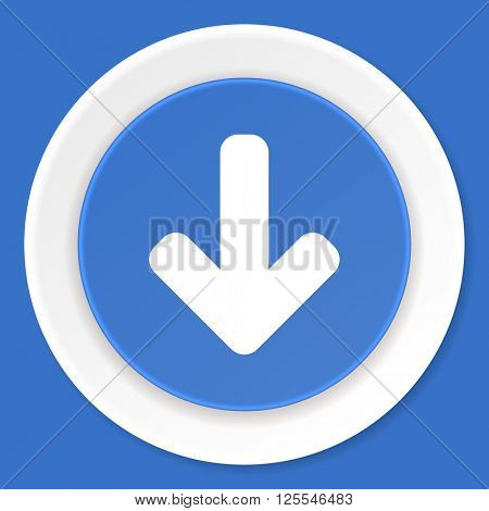 download arrow blue flat design modern web icon