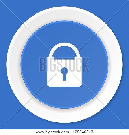 padlock blue flat design modern web icon