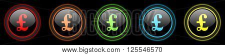 pound colored web icons set on black background