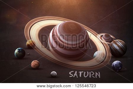 Saturn - High resolution images presents planets of the solar system on chalkboard. This image elements furnished by NASA