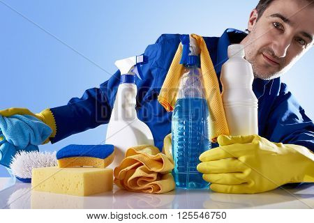 Cleaning Service Products And Employee Looking