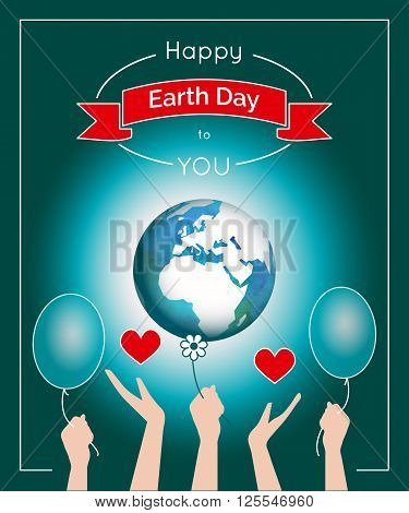 Vector poster for 22 April, Earth Day. International Mother Earth Day. The planet in blue and white colors. Globe and red ribbon as a concept for Earth Day. Poster with the globe and people hands.