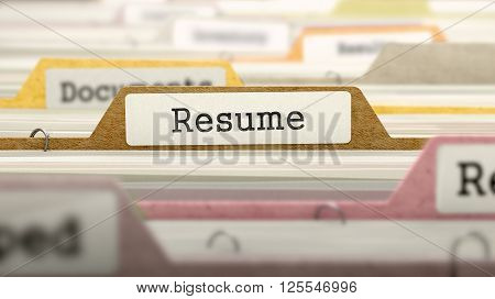 Resume - Folder Register Name in Directory. Colored, Blurred Image. Closeup View. 3D Render.