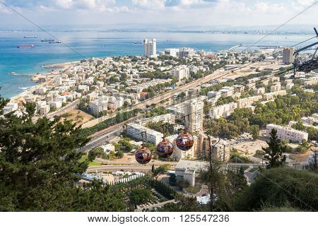 City Haifa Cable Cars. Israel in summer.