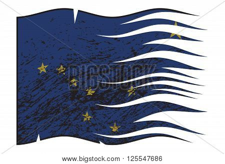 A grunged wavy and torn Alaska state flag isolated on a white background