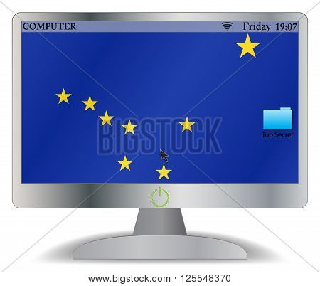 An Alaska computer screen with an on button isolated on a white background