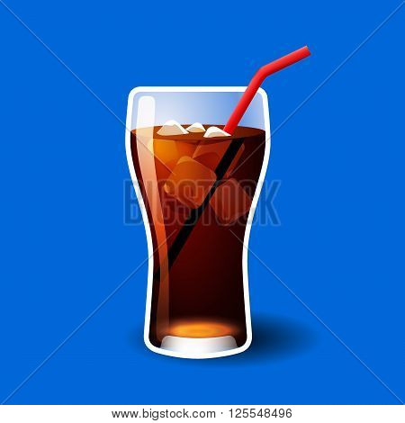 Cola glass with ice cubes isolated on blue vector illustration