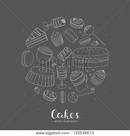 Hand drawn cakes composed in circle shape. Cake slices, push pop cakes, cupcakes, cake pops, whoopie pie, tarts, bundt cake, mug cakes. Collection of different desserts in circle.