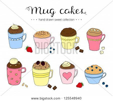 Collection of cute doodle mug cakes. Portional cakes in coffee mugs. Chocolate cake, berry cake, cake with ice cream. Can be used for recipes, postcards, posters, culinary articles.