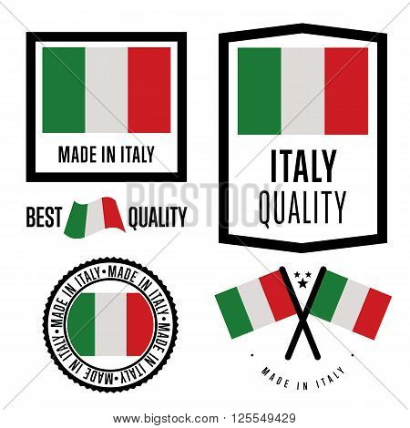 Made in Italy label set. Vector Italy flag. Symbol of quality. Manufacturing by Italy. Tags and sticker collection. Vintage and modern stamp.
