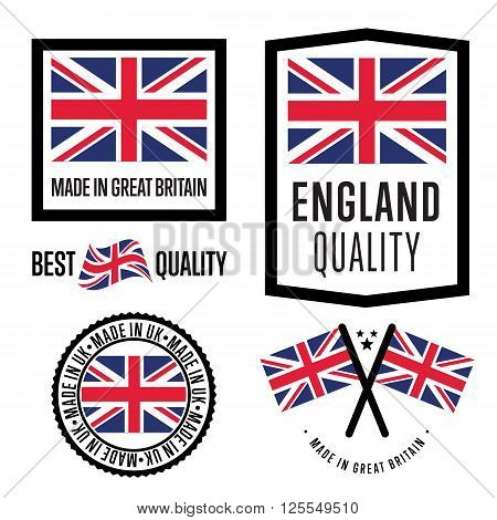 Made in Great Britain label set. Vector Great Britain flag. Symbol of quality. Manufacturing by UK. Tags and sticker collection. Vintage and modern stamp.
