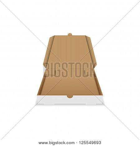 Vector pizza box. Open pizza box. Cardboard pizza box. Empty pizza box. Square pizza box. Isolated on white.