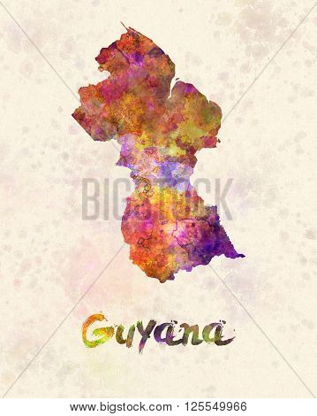 Guyana map in artistic and abstract watercolor