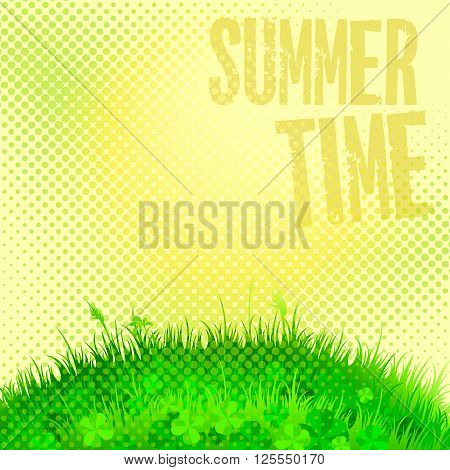 abstract background with green grass and sunshine