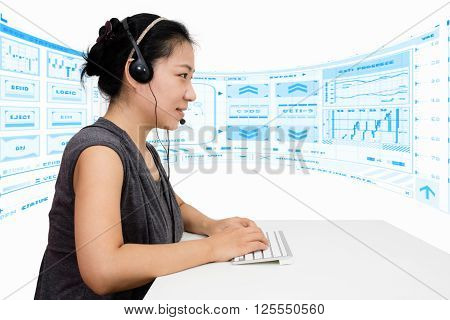 Asian Woman With Headset Using Keyboard