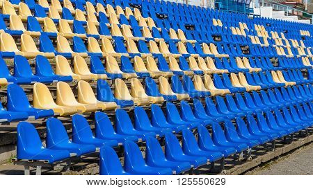 Photo of empty seats in the stadium. The seats at the stadium