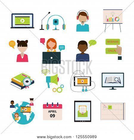 Vector Illustration of webinar icons set. Concept of online webinar education. Flat design of webinar icons collection.