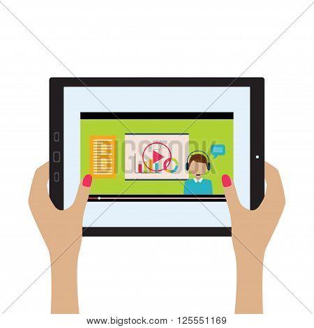 Vector illustration of webinar concept. Hands with tablet. Flat design.